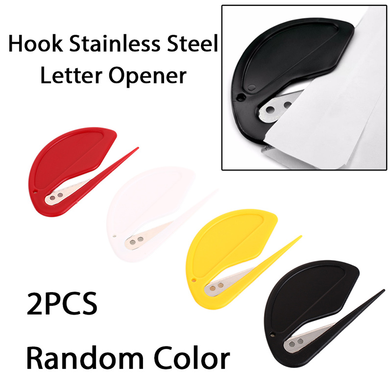 2Pcs Set Plastic Mini Letter Knife Letter Mail Envelope Opener Safety Paper Guarded Cutter Blade Office Equipment in Letter Opener from Office School Supplies