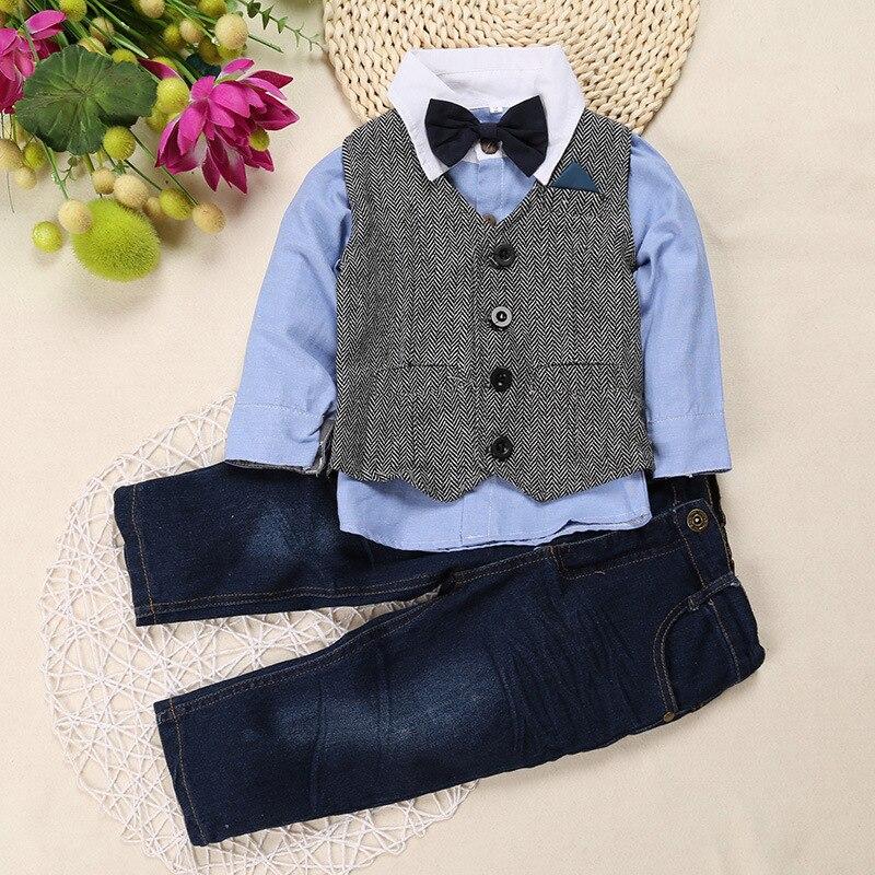 e804304d2b5 Conjunto de ropa para niños pequeños chaleco para niños + blusa + Pantalones  vaqueros 3 piezas ropa para fiesta de cumpleaños niño pequeño conjuntos de  ropa ...