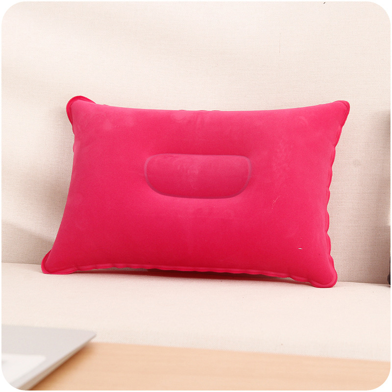 2017 Air Inflatable Pillow Outdoor Portable Folding Double Sided Flocking Cushion for Travel Plane Hotel Hot Worldwide 1PC in Travel Pillows from Home Garden