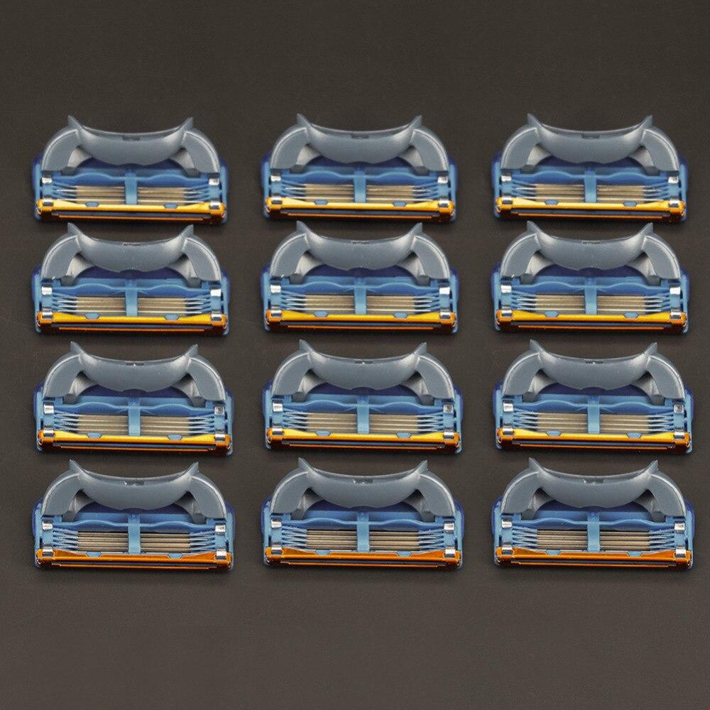¡12 unids/pack! Los hombres de cuchillas de afeitar de alta calidad de casetes cuidado facial afeitado para hombres cuchillas Compatible con gillettee fusione