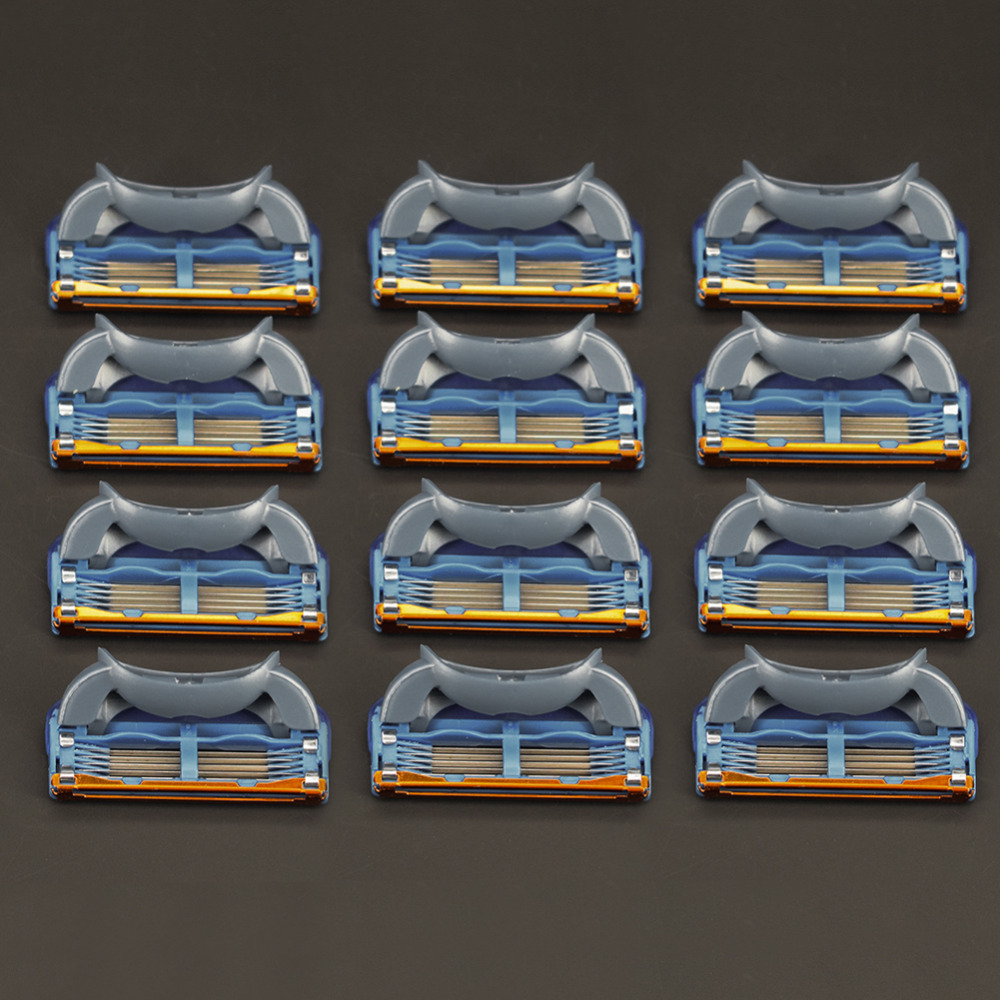 12 unids/pack. Cuchillas de afeitar hombres alta calidad de afeitar casetes cuidado facial hombres cuchillas de afeitar Compatible con gillettee fusione