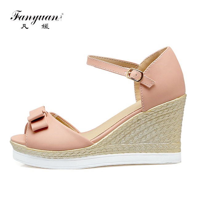 932b80136bd8ac Fanyuan Best Price Ladies Wedges Sandals Elegant Butterfly-Knot Women s  High Heels Ankle Strap Girl Party Wear Shoes White Pink