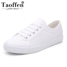 Купить с кэшбэком Taoffen Women Casual Daily Vulcanized Shoes Party Vacation Outdoor Shoes Women Fashion Simple White Shoes Sneakers Size 35-44