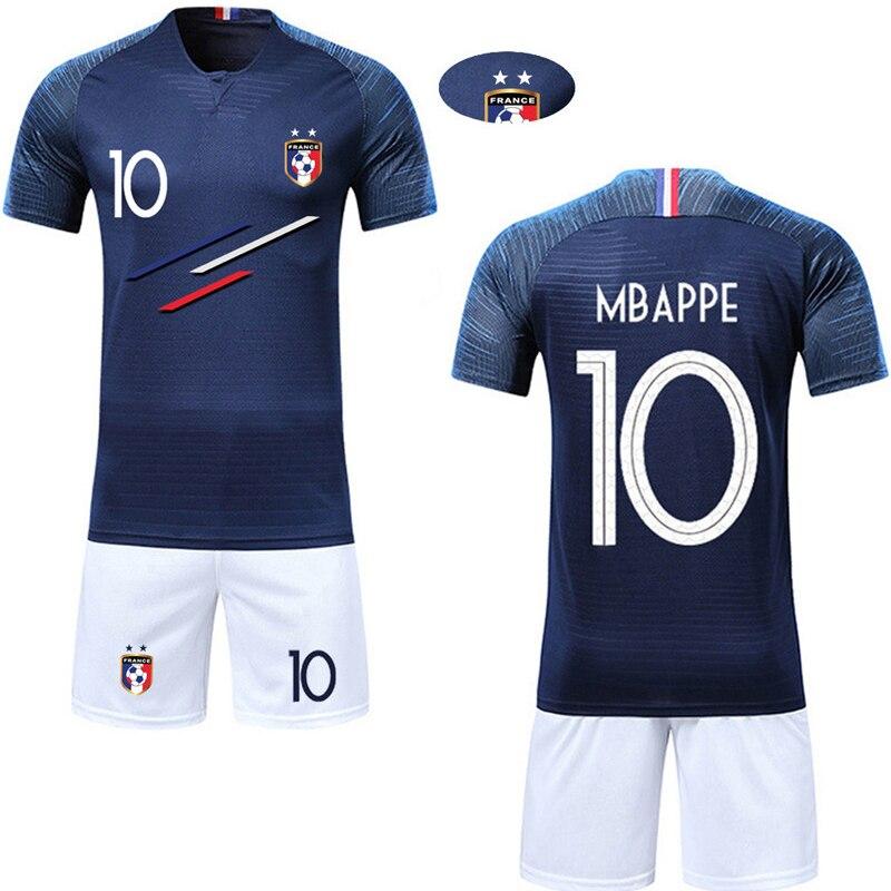 ad7800045 2019 Boys Girls France Short Sleeve Children Active Training Jerseys custom  2 Stars Print Kids Football Shirts and Shorts sets
