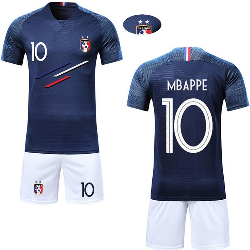 Intelligent 2019 Jungen Mädchen Frankreich Kurzarm Kinder Active Ausbildung Trikots Custom 2 Sterne Drucken Kinder Fußball Shirts Und Shorts Sets
