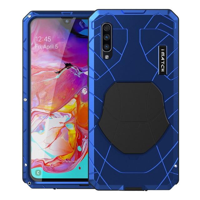 電話ケース A70 ハードアルミニウム金属強化ガラススクリーンプロテクターカバ保護シリコンカバー