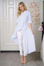 2018 Autumn New Women white Shirt Irregular Blouse Turn-down Collar Button Cotton Five Sleeve Long Women Tops