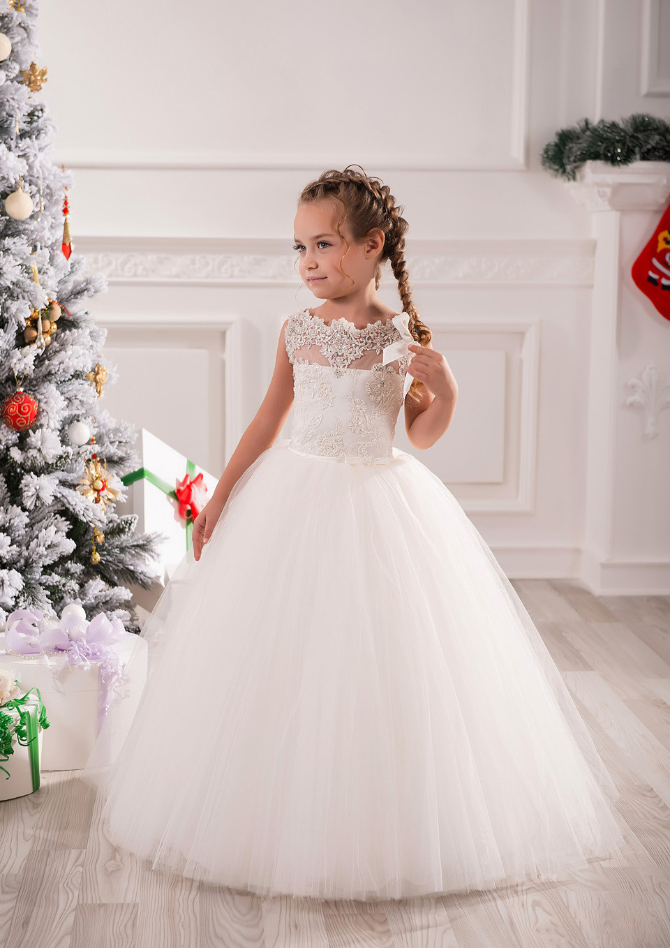 Tutu New White Flower Girl Dress Ball Gowns Ankle Length Appliques Sleeveless O-neck Lace Up Vestidos Primera Comunion 2016 4pcs new for ball uff bes m18mg noc80b s04g