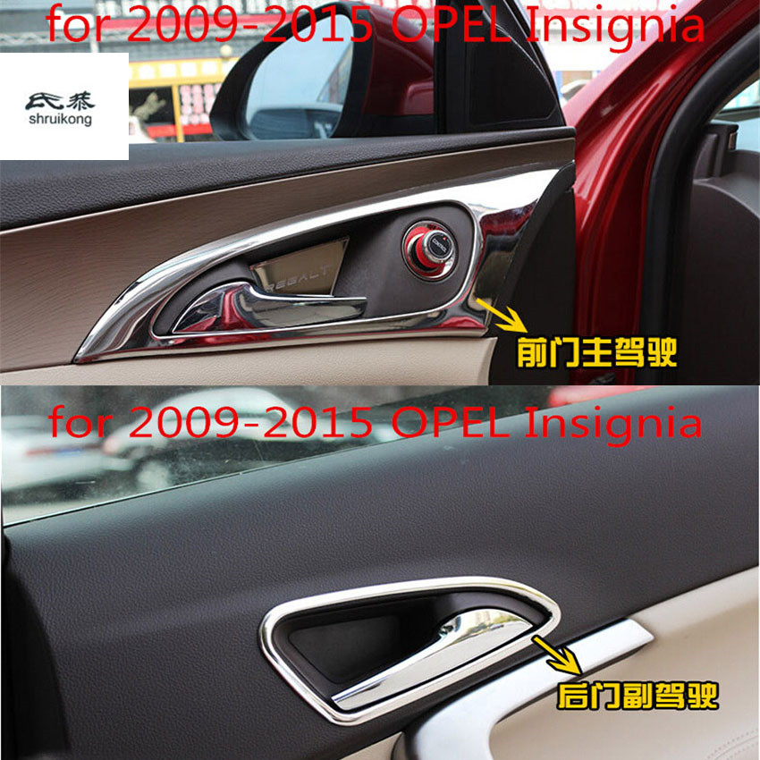 Free shipping 4pcs car stickers of Interior door shake handshandle decation for 2009 2015 OPEL Insignia