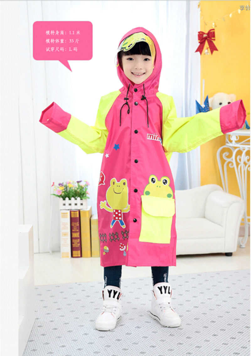 Child boy's and girl's cartoon hat big brim student school bag raincoat poncho frosted thickened disposable raincoat poncho with transparent portable travel buckle hat