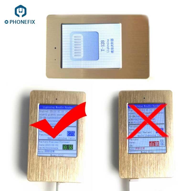 Outil de lecture de câble de données USB d'origine PHONEFIX avec écran LCD faux outil de test de vérification de cordon de charge pour iPhone iPad