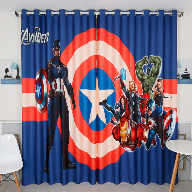 Custom Made 2x Wndow Drapery Curtain Boy Kid Children Room Window Dressing Tulle 200x260cm Super Iron Captain Man Star Blue