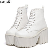 Womens Boots Winter Fashion Platform High Heel Boots Ladies Ankle Boots Punk Rock Motorcycle Boots Black Platform Shoes Boots