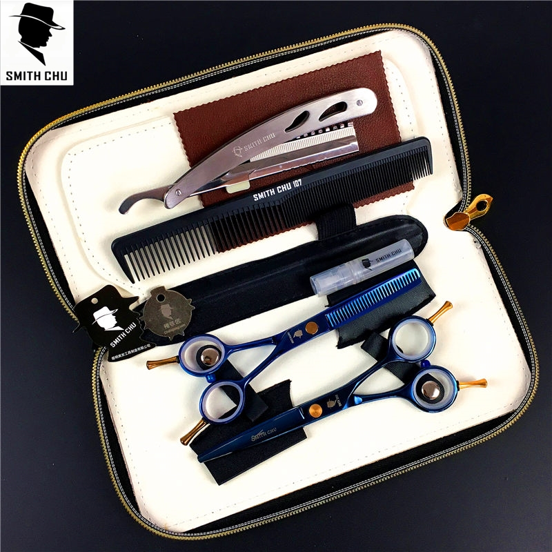 SMITH CHU Professional Hair Scissors set 5.5/6.0 inch Rainbow Straight & Thinning scissors barber shears +razor+comb +kits