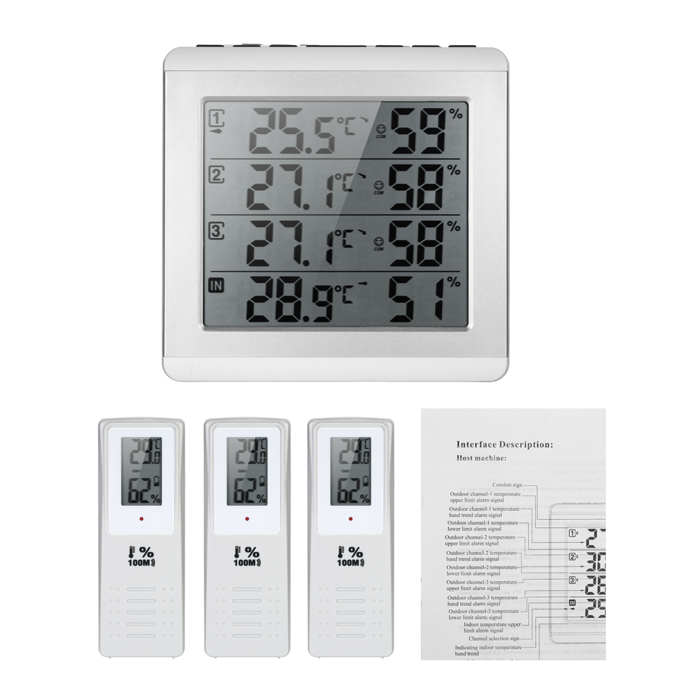 Digital Thermometer Hygrometer LCD display Wireless Four channel Temperature Humidity Meter with Transmitter Comfort Level