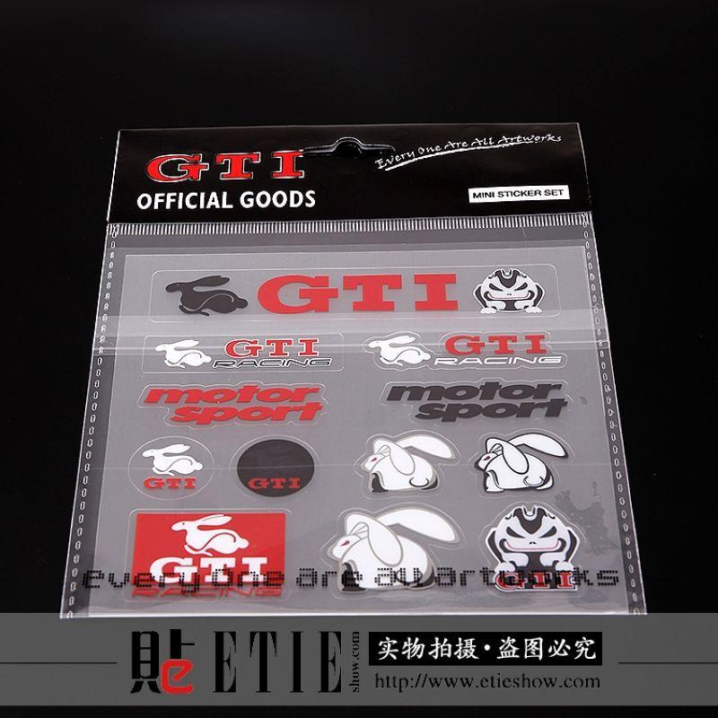Etie estilo caliente de la venta 12 * 12 cm de vinilo transparente pegatina GTI