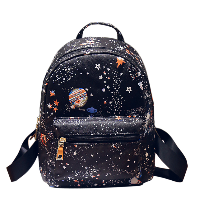 a78626ae4e Women s Small Leather Star Universe Printing Backpack Ladies Mini Backpacks