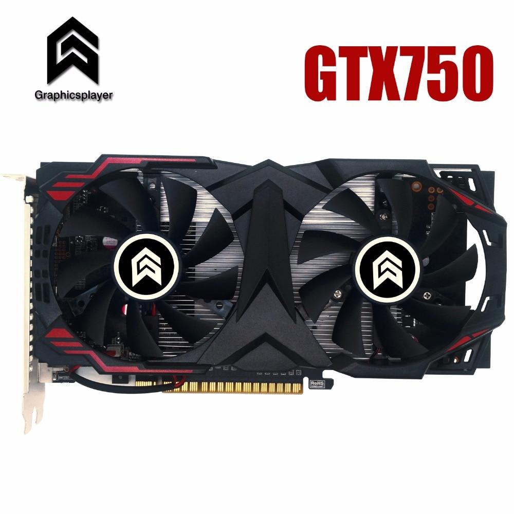 Carte graphique PCI-E 16X GTX750 GPU 2G DDR5 pour nVIDIA Geforce puce originale ordinateur PC carte vidéo