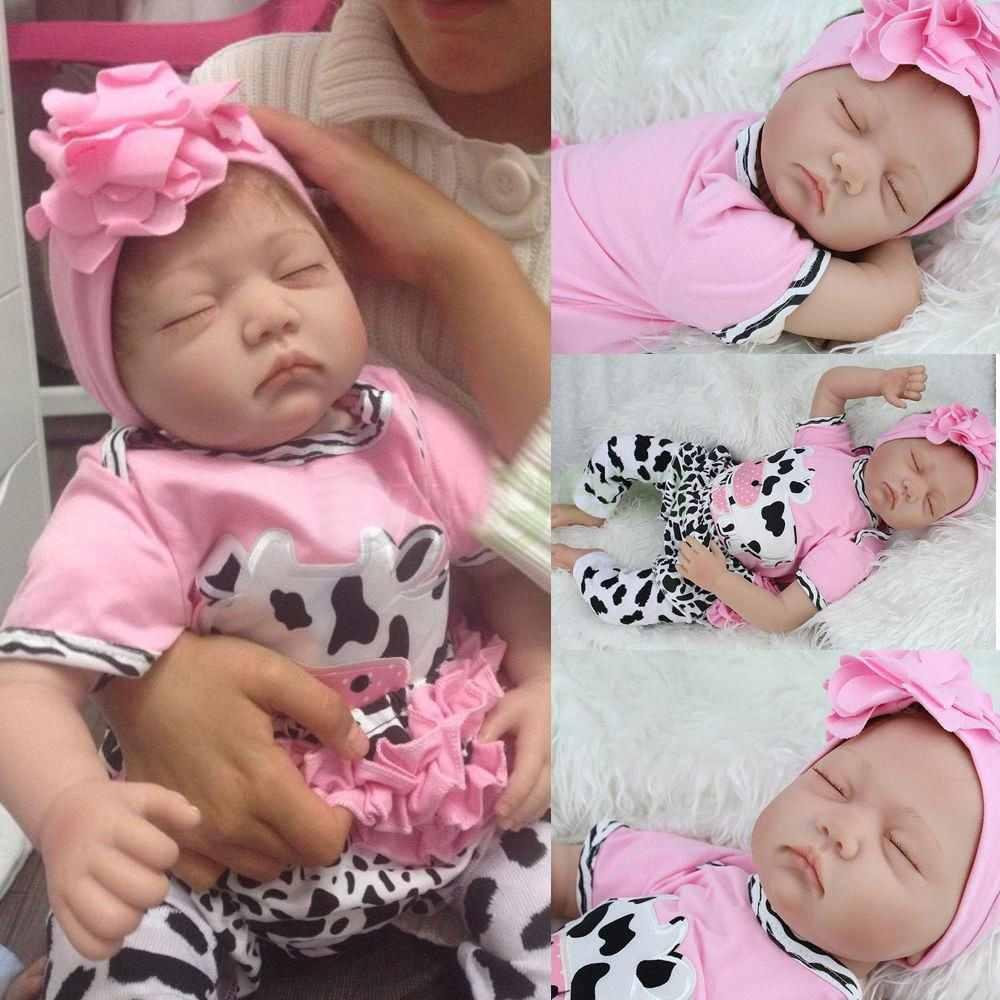 """Cute 17/"""" Reborn Dolls Baby Girl Doll Realistic Lifelike Soft Silicone Rabbit Toy"""
