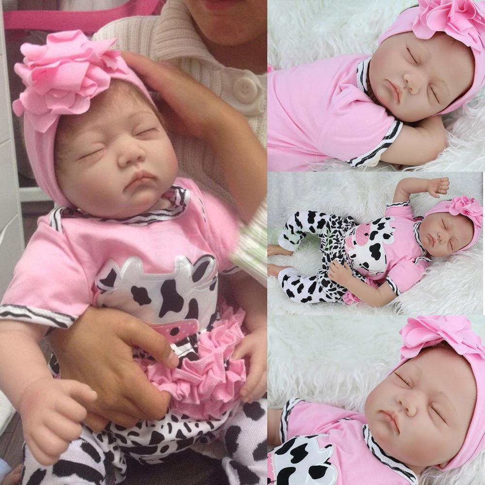 22 pouces 55cm Silicone souple fait à la main Reborn bébé fille poupées réaliste à la recherche nouveau-né bébé poupée enfant en bas âge mignon cadeau d'anniversaire