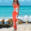 Mulheres Moda Verão Sem Mangas O Neck Impresso Longo Bodycon Vestidos Slit Vestido de Verão Laranja/Azul Claro