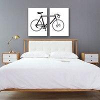 Decoración Lienzo Prints Modern Pintura Posters arte Nórdico negro blanco de Bicicletas Cuadro de la Pared Para la Sala de 2 Unidades Sin Marco