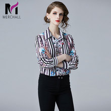 Merchall Spring Summer Designer Runway Blouse Women's Long sleeve Turn Down Neck Casual blouse Fashion Tops Office Lady Shirts girls plaid blouse 2019 spring autumn turn down collar teenager shirts cotton shirts casual clothes child kids long sleeve 4 13t