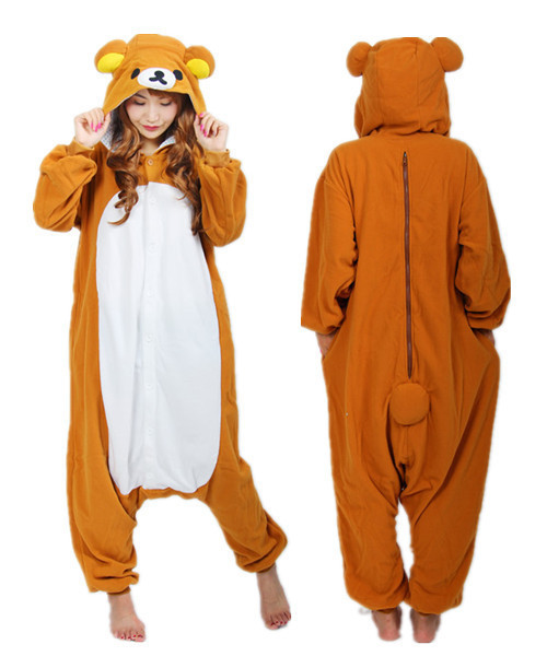 Anime Unisex Adult Rilakkuma Bear Onesies Children Pajamas Cosplay