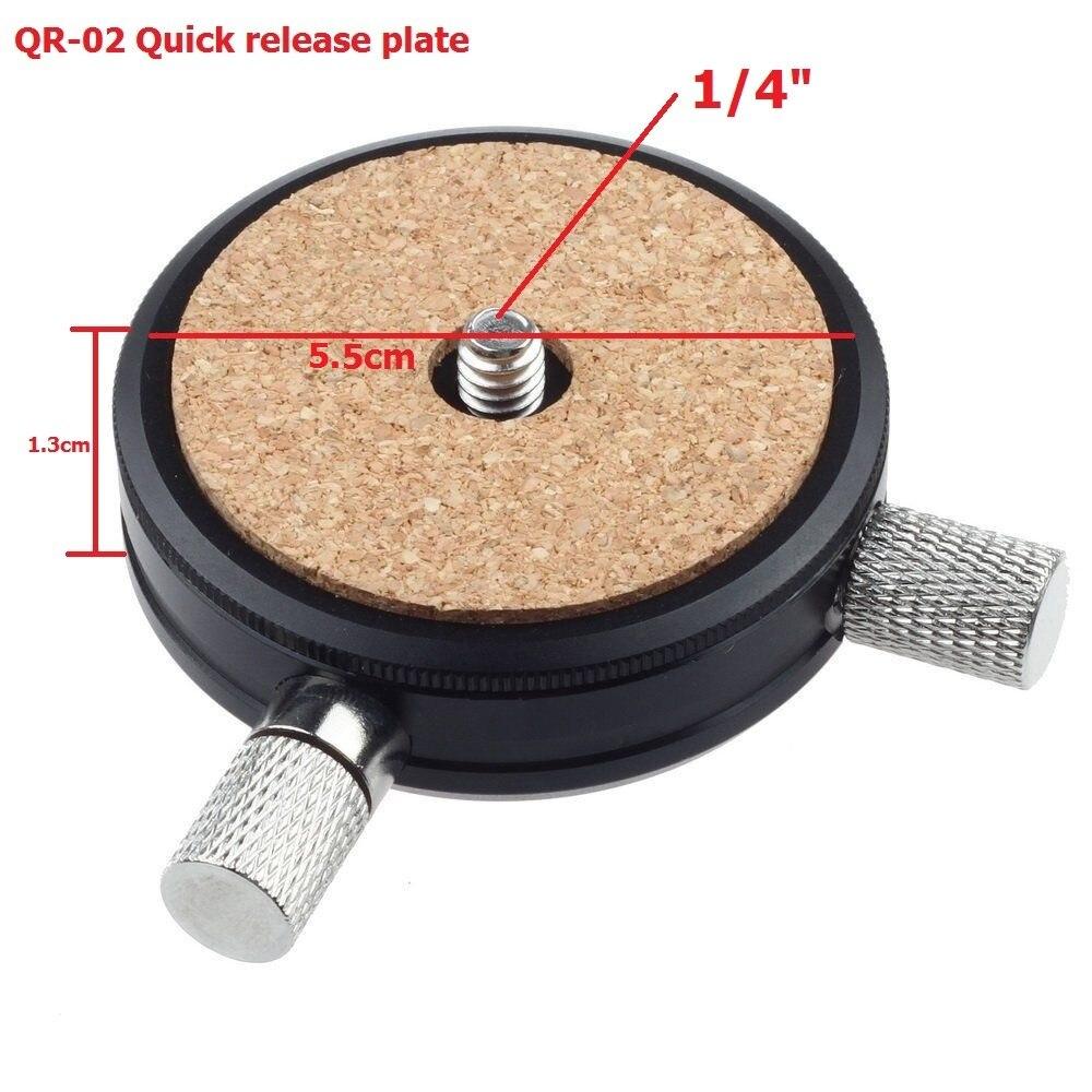 QR-02 Quick Release Plate Bracket Head Board with 1/4 3/8 Screw Adapter for Tripod Monopod Ball Head Camera