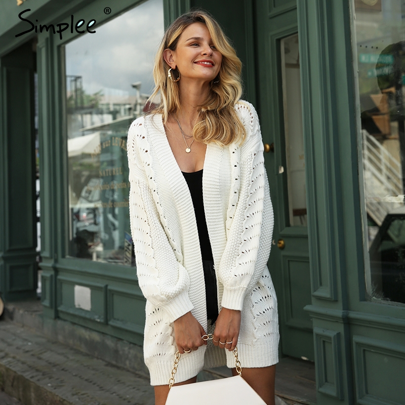 Simplee Autumn Women Shrug Knitted Cardigan Casual Long White Hollow Out Cardigan Sweater Loose Winter Female Outerwear Coat New