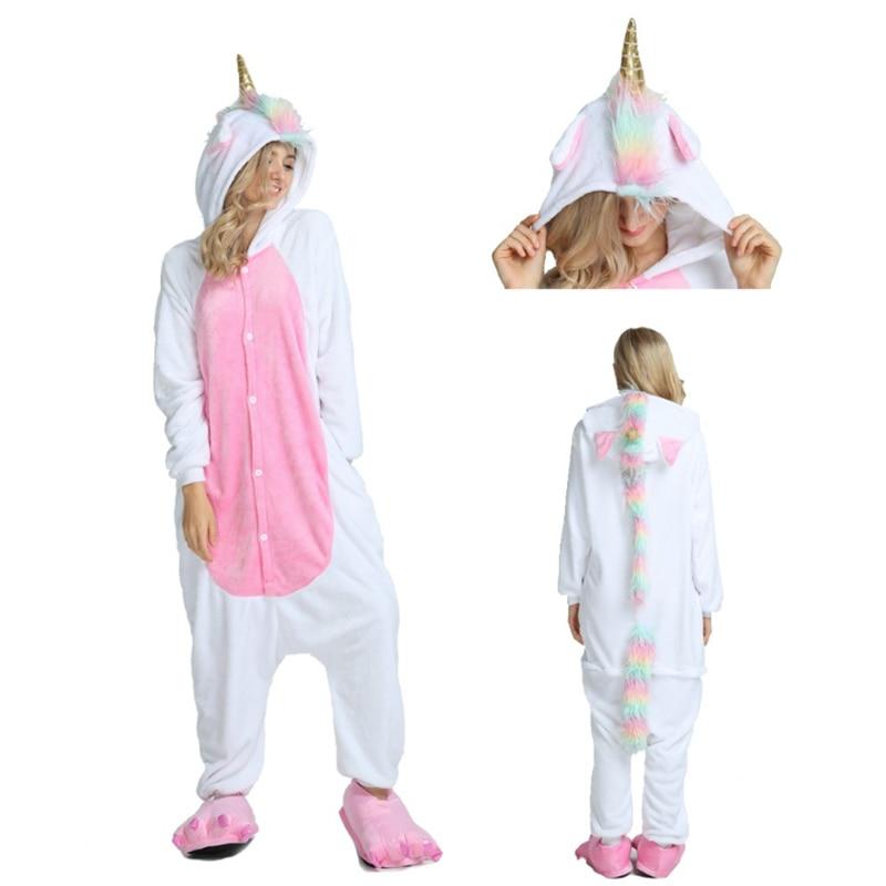 Adults Animal Kigurumi   Pajamas     Sets   Sleepwear Cosplay Zipper Women Men Winter Unisex unicornio Stitch Cartoon Unicorn   Pajamas