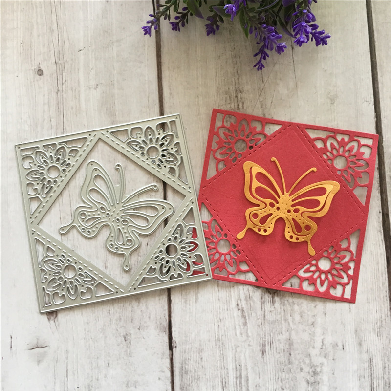DIY flower butterfly square box Scrapbooking Card Album Embossing Paper Dies Cut Metal Craft Template 103x104mm in Cutting Dies from Home Garden