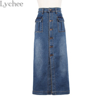Lychee Koreaanse Stijl Zomer Vrouwen Kokerrok Pocket Slanke Hoge Taille Denim Lange Rok Vintage Midi Rok