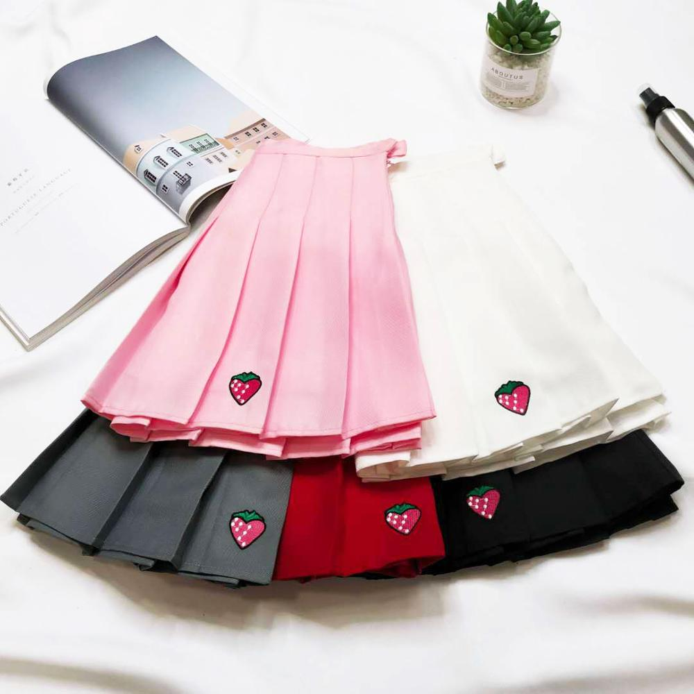 XS-XXL Five Colors Summer New A-Line Women Skirt High Waist Strawberry Embroidery Pleated Skirt Women Safety Pants Mini Skirt