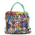 Las mujeres bolsos de las mujeres famosas marcas de cuero genuino Costura flores crossbody bolso de las mujeres de Moda bolsas de mensajero bolso grande