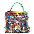 Mulheres Sacos bolsas mulheres famosas marcas de couro genuíno flores Costura crossbody bag Moda mulheres messenger bags big bag