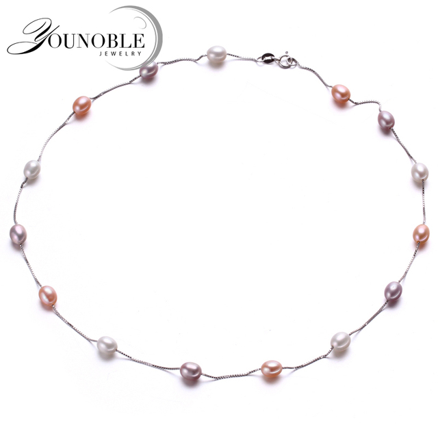 Beautiful 925 sterling silver thin chain necklace with natural freshwater pearl,