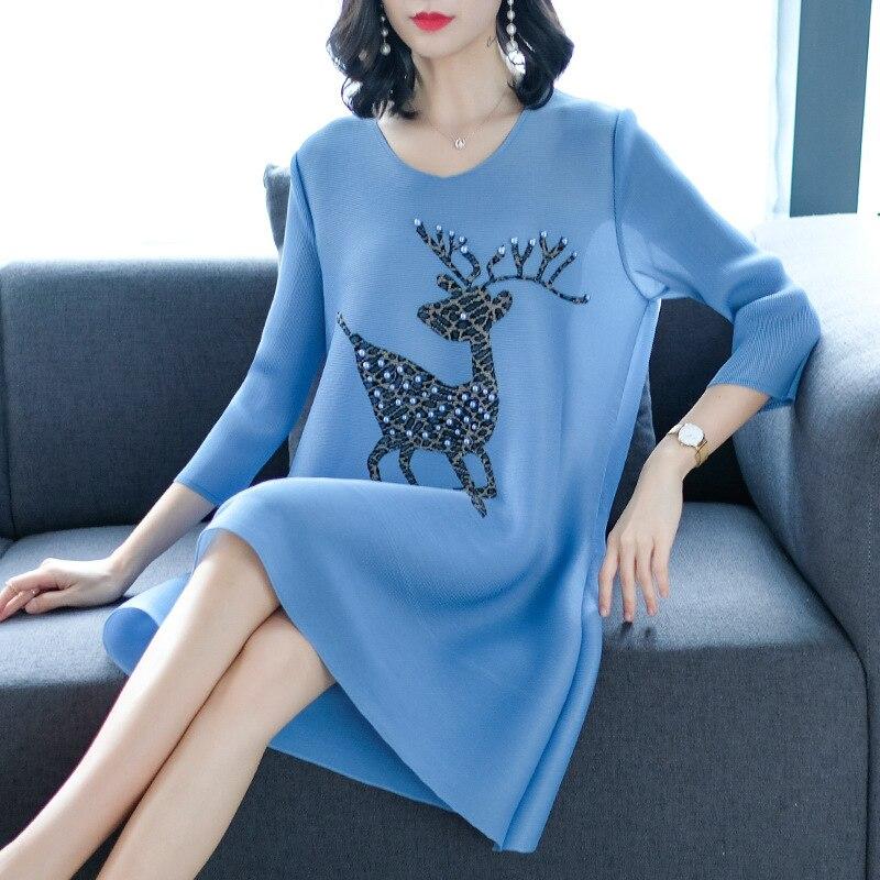 Robe Miyak Taille De Perlée Blue Mode Printemps Nouveau red Light gray 2019 brown Été Changpleat Grande Imprimé 4 Manches Femmes 3 Femme Robes Plissée Lâche 6wq0Y8Xwx
