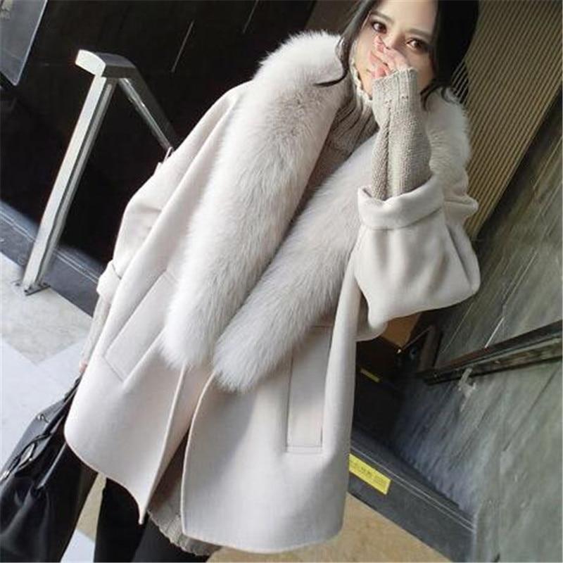 Élégante Grand Manteau Off medium Femme Col Long De Automne G831 Nouvelle Mode Fourrure Moyen White Vent Hepburn Gray Hiver 2018 Base Chaud Laine vZWPn1xv