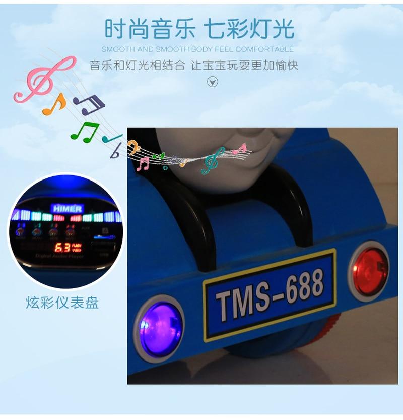 Маленький паровозик Томас, игрушечный автомобиль для детей, Электрический локомотив, Детская горка, ходунки с музыкой, Детский Электрический четырехколесный автомобиль - 6