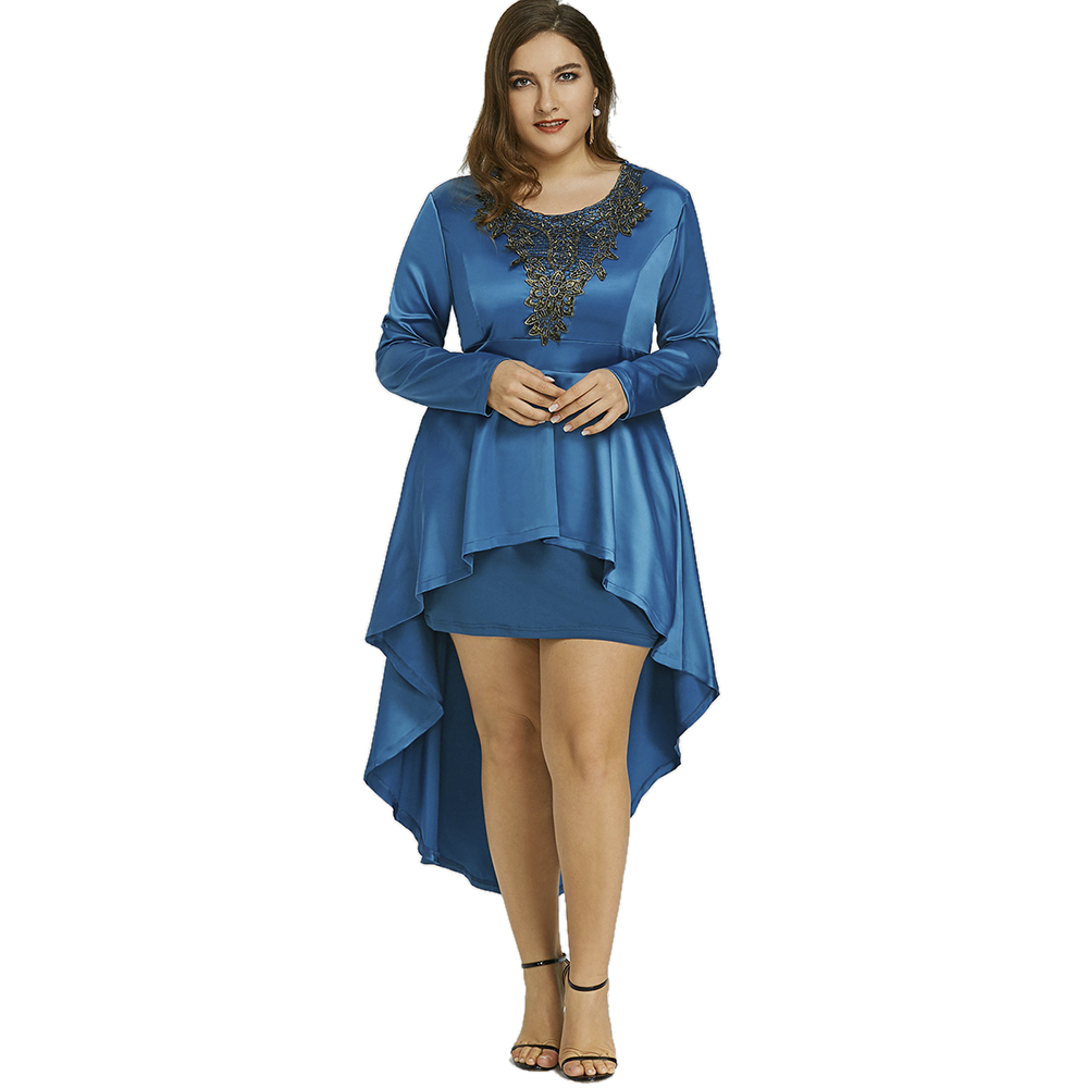 Sheer Floral High Low Plus Size Lace Dress for Women Flattering ...