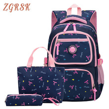 Women 3pcs/set Nylon Printing Backpack Bag Kids School Bags Cute Backpacks Bagpack For Teenagers Girls Bag Back Pack Schoolbag все цены