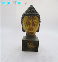 Rare Chinesisch Alten Bronzevergoldung Geschnitzte Buddha Kopf Skulptur/Statue kunstsammlung Antike antiken Buddhismus Tempel Mark
