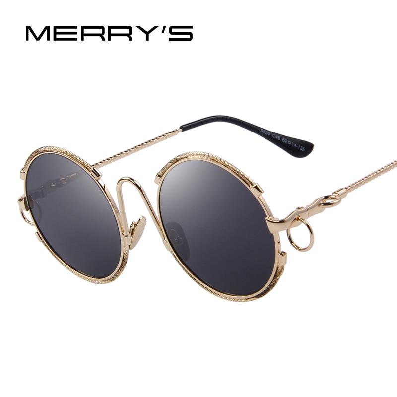 MERRYSTORE Fashion Women Round Sunglasses Retro Star Style Mirror Sunglasses Oculos De Sol UV400
