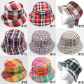 2015 New Plaid Fashion Bucket Hat Unisex Summer Beach Sun Floppy Hats Flat Caps Bob Chapeau Gorras