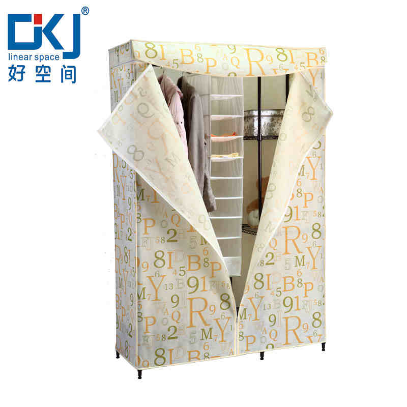 Simple wardrobe closet reinforcement dust storage cabinets organize clothes racks metal folding frame combination