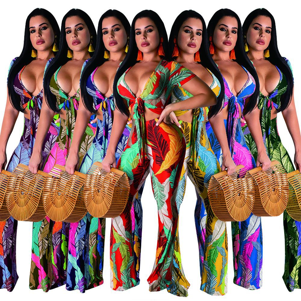 2020 women beach sheet print sexy two piece set tie v-neck top short wide leg pants suit bohemian tracksuit 7 colors