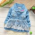 Meninas do bebê Casaco Estilo Coreano menina infantil primavera & outono rendas denim outerwear jaqueta crianças Dos Desenhos Animados bonitos casaco jean roupas