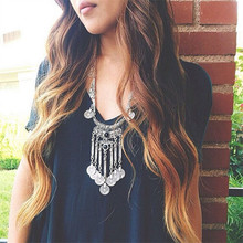 NEW FASHION Hot Sale Gypsy Ethnic Tribal Turkish Boho Chain Gem Necklace Tassel Jewelry X-624