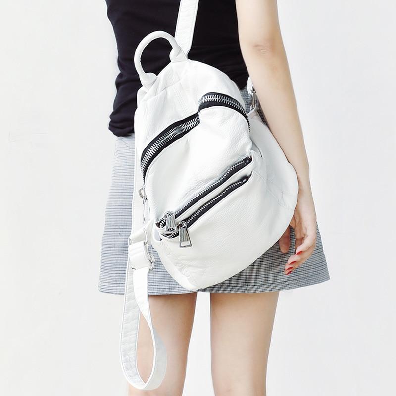 Female Backpack Leather PU White Bagpack Women College Back Pack for School Backbag Designer Backpacks for